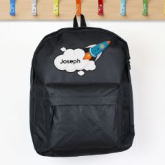 Personalised Black Backpack With Rocket Deign