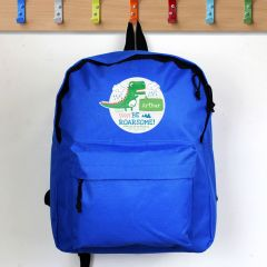 Personalised Blue Dinosaur Backpack With 'Be Roarsome' Design