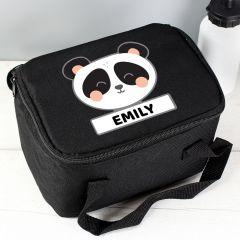 Personalised Panda Black Childrens Lunch Bag