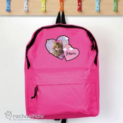 Personalised Cute Cat Pink Backpack by Rachael Hale