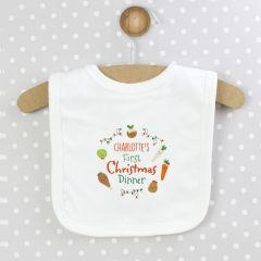 Personalised Baby First Christmas Dinner Bib