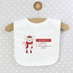 Personalised 1st Christmas Bib with Mouse Design