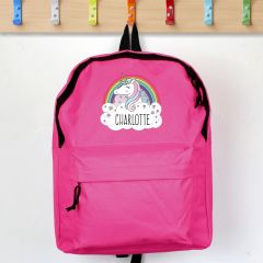 Personalised Unicorn Design Pink Backpack