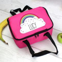 Personalised Rainbow Pink Childrens Lunch Bag