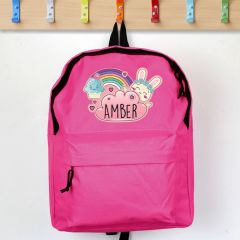 Personalised Pink Backpack with Cute Bunny Design