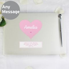 Personalised Stitch & Dot Design Baby Girl Hardback Guest Book & Pen