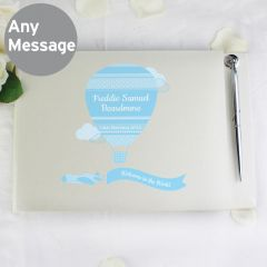 Personalised Up & Away Design Baby Boy Hardback Guest Book & Pen