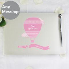 Personalised Up & Away Design Baby Girl Hardback Guest Book & Pen