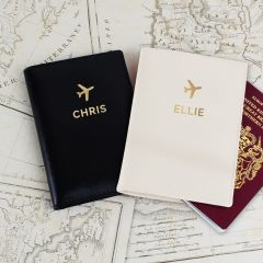 Personalised Gold Name Design Passport Holders Set