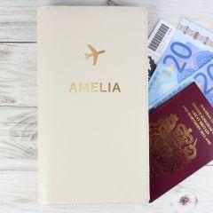 Personalised Gold Name Design Travel Document Holder