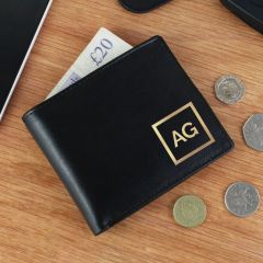 Personalised Gold Initials Black Leather Wallet