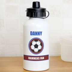 Personalised Claret and Blue Football Fan Design Drinks Bottle