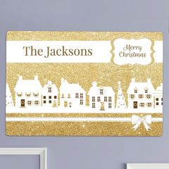 Personalised Festive Scene Village Metal Sign