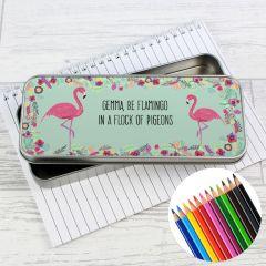 Personalised Flamingo Pencil Box with Pencil Crayons