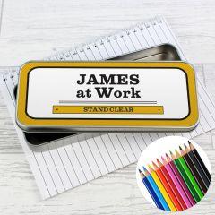 Personalised Man at Work Pencil Box with Pencil Crayons
