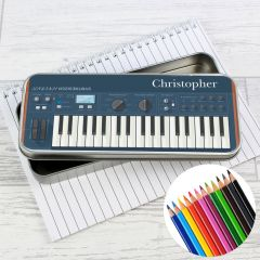 Personalised Keyboard Pencil Box with Pencil Crayons