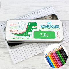 Personalised 'Be Roarsome' Dinosaur Pencil Box with Pencil Crayons