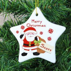Personalised Felt Stitch Design Santa Ceramic Star Decoration