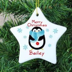 Personalised Felt Stitch Design Penguin Ceramic Star Decoration