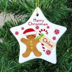 Personalised Felt Stitch Design Gingerbread Man Ceramic Star Decoration