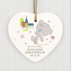 Personalised Tiny Tatty Teddy Bear Christening Ceramic Heart Decoration
