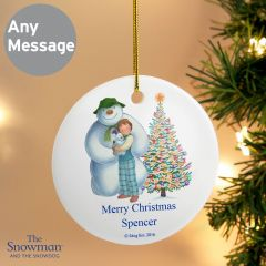 Personalised The Snowman and the Snowdog Friends Round Hanging Ceramic Decoration