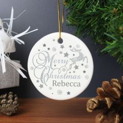 Personalised Silver Reindeer Round Hanging Ceramic Decoration