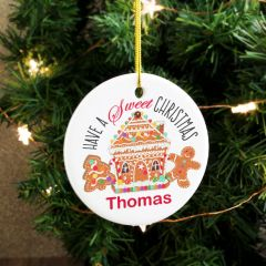 Personalised Gingerbread House Round Hanging Ceramic Decoration