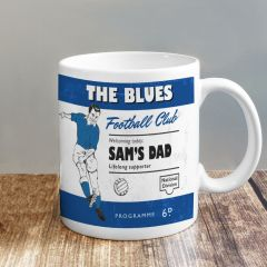 Personalised Vintage Design Football Blue and White Supporter's Mug
