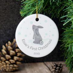 Personalised 1st Christmas Bunny Round Hanging Ceramic Decoration