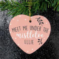 Personalised 'Meet Me Under The Mistletoe' Ceramic Heart Decoration