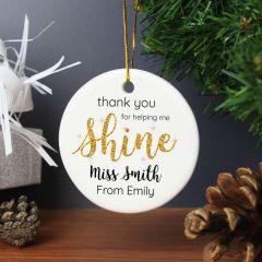 Personalised Shine Teacher Round Hanging Ceramic Decoration