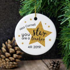 Personalised Star Teacher's Round Hanging Ceramic Decoration