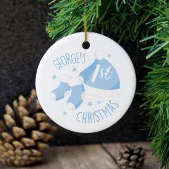 Personalised 1st Christmas Blue Round Hanging Ceramic Decoration