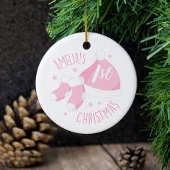 Personalised 1st Christmas Pink Round Hanging Ceramic Decoration