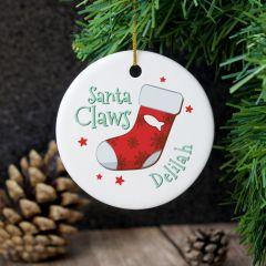Personalised Santa Claws Round Hanging Ceramic Decoration