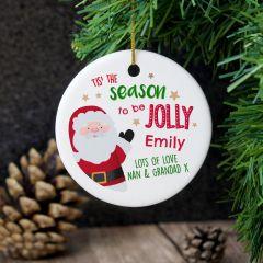 Personalised 'Tis the Season' Round Hanging Ceramic Decoration