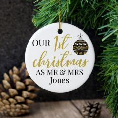 Personalised Mr and Mrs 1st Christmas Round Hanging Ceramic Decoration