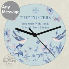 Personalised Country Diary Design Blue Blossom Glass Clock