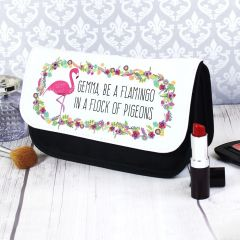 Personalised Flamingo Design Make Up Bag