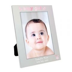Personalised Silver Baby Girl Photo Frame 5x7