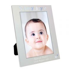 Personalised Silver Baby Boy Photo Frame 5x7