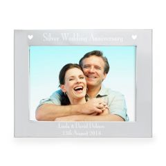 Personalised  Silver Anniversary Landscape Photo Frame 7x5