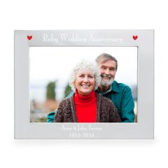 Personalised Silver Ruby Anniversary Landscape Photo Frame 7x5