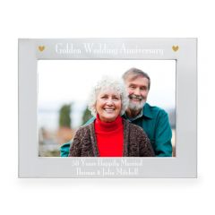 Personalised Silver Golden Anniversary Landscape Photo Frame 7x5
