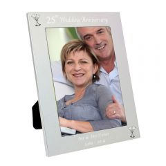 Personalised Silver 25th Wedding Anniversary Photo Frame 5x7