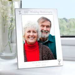 Personalised Silver 60th Wedding Anniversary Photo Frame 5x7