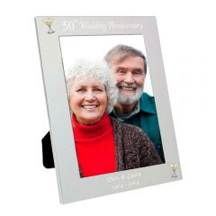 Personalised Silver 50th Wedding Anniversary Photo Frame 5x7