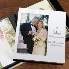 Personalised Decorative Silver Anniversary Photo Frame Album 6x4