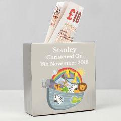 Personalised Noah's Ark Square Design Money Box